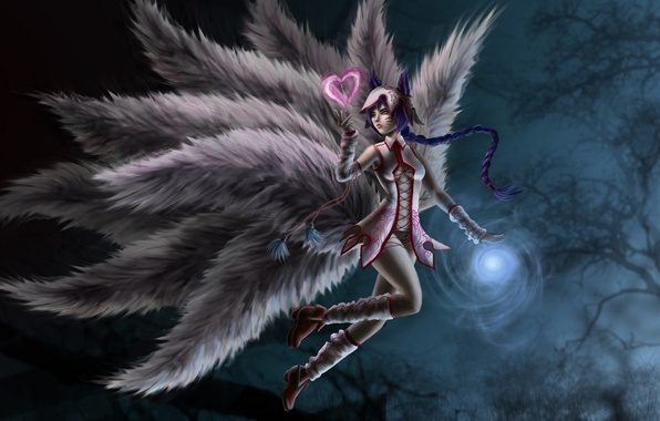Picture girl, art, heart, league of legends, tails, ahri