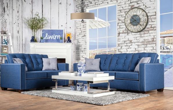 Wallpaper Living Room Interior Design, Marine Style Furniture