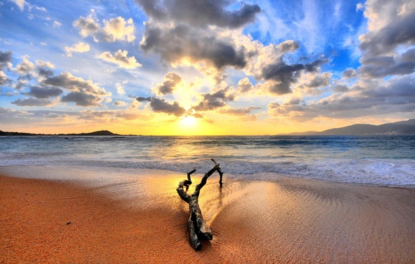 Picture sand, sea, sunrise