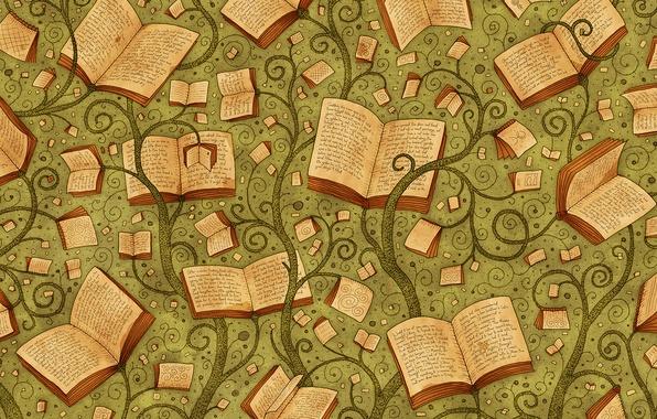 Picture letters, background, books, plants, vladstudio