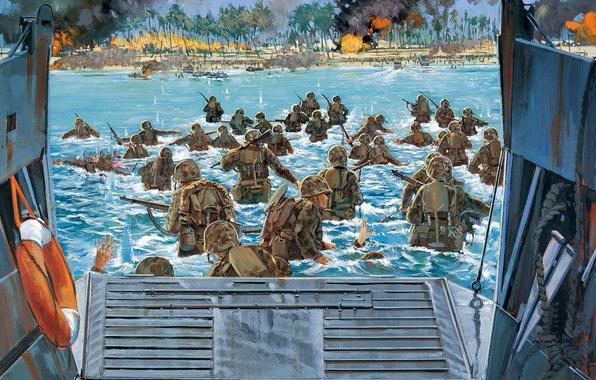 Picture victory, art, artist, soldiers, USA, battle, the battle, landing, battle, sea, WW2, action, 1943., over, …