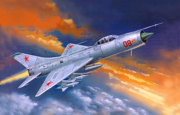 Picture the sky, clouds, figure, art, the plane, fighter-interceptor, weatherproof, Soviet, Su-9, single-engine