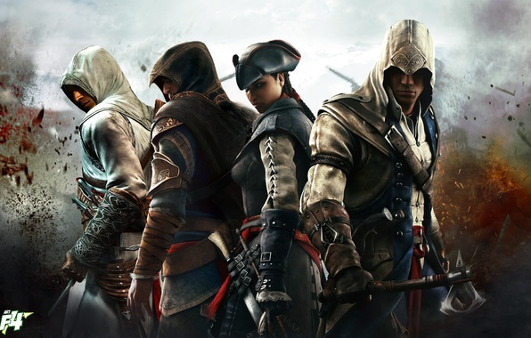 Picture Altair, Ezio, Assassin's Creed III, Connor, Evelyn