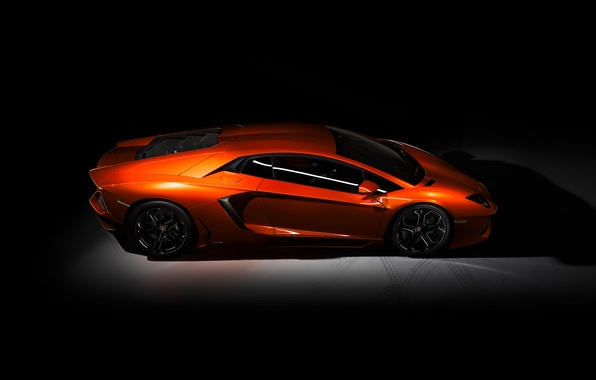Photo wallpaper Lamborghini, LP-700, Orange, Aventador, Dark, Side View