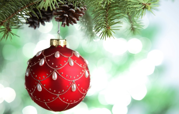 Picture red, patterns, toy, tree, ball, branch, ball, New Year, Christmas, Christmas, branch, bumps, New Year, …