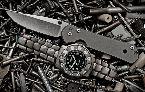 Picture watch, knife, bolts, screws, folding, sebenza, traser, nuts
