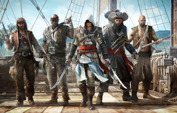 Picture weapons, ship, hood, pirates, killer, barrels, swords, Ubisoft, assassin, pistols, Edward Kenway, Assassin's Creed IV: …