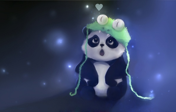 Picture look, hat, figure, frog, snake, surprise, bear, bear, Panda, artist, heart, apofiss, cuteabsurd
