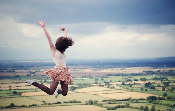Picture the sky, jump, hair, field, skirt, Girl, cloud, flight