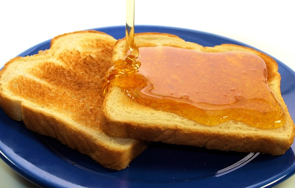Picture Breakfast, honey, plate, bread, toast