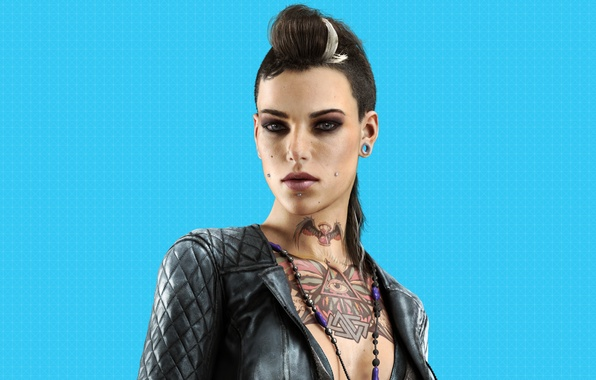 Picture look, girl, piercing, beads, tattoo, Watch Dogs, Ubisoft Montreal, Watchdogs, Clara Lille, Clara Lille, the …