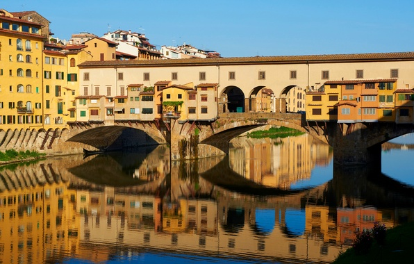 Picture bridge, river, home, Italy, Florence, Old Bridge, Firenze, Arno