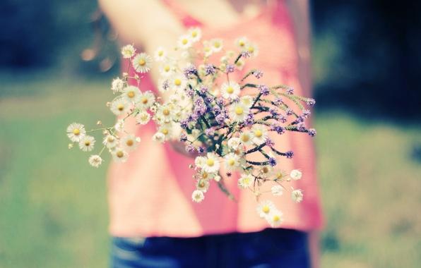 Picture girl, macro, flowers, nature, background, Wallpaper, blur, wallpapers, full screen, flowers. girl