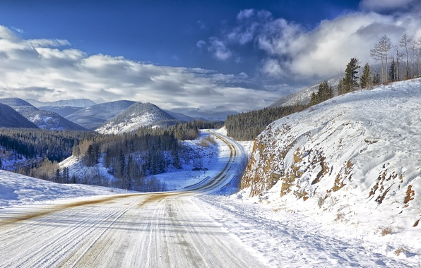 Picture winter, road, the sky, clouds, snow, trees, mountains, nature