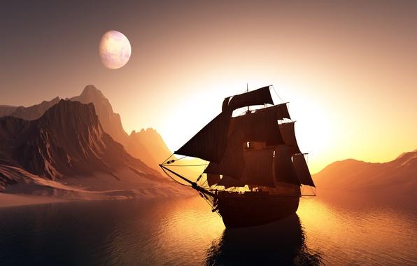 Picture light, mountains, planet, Water, sailboat