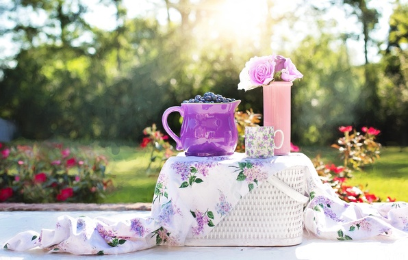 Photo wallpaper pitcher, basket, berries, blueberries, Cup, table, vase, flowers