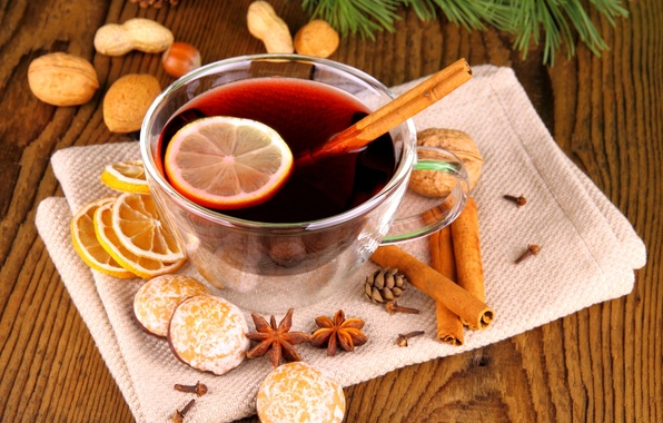 Picture winter, lemon, cookies, Cup, drink, nuts, cinnamon, holidays, spices, Anis, mulled wine