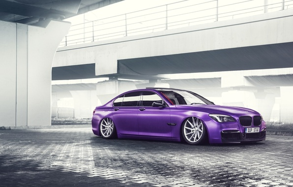 Picture BMW, German, Car, Purple, Color, 7 Series, Vossen, Low, Wheels