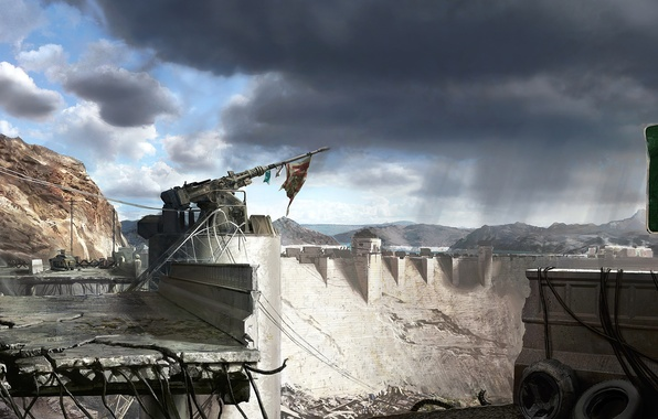 Picture flag, gun, Fallout, New.Vegas