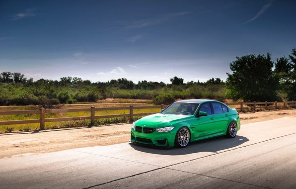 Picture car, green, bmw, road, f80
