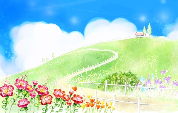 Picture road, greens, summer, clouds, flowers, house, figure, the fence, hill, hut