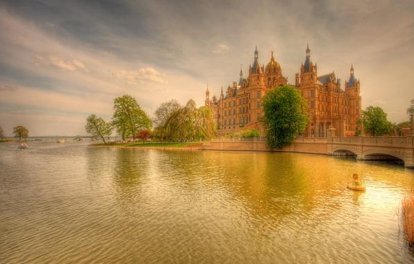 Picture trees, sunset, bridge, river, castle, figure, boats