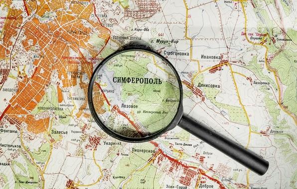 Picture map, Russia, magnifier, Crimea, Simferopol