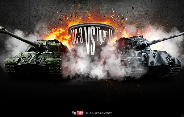 Picture fire, explosions, the opposition, Germany, tank, USSR, tanks, Germany, WoT, Tiger II, World of Tanks, …