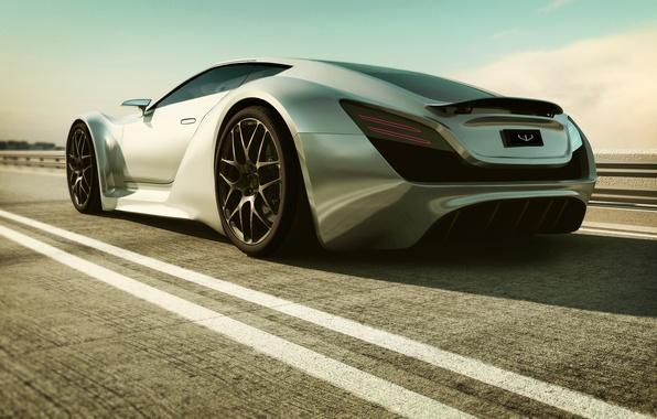 Picture road, machine, Bentley, art, supercar, Super Monaco