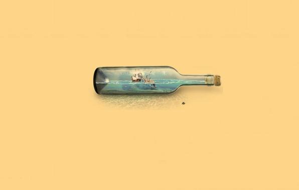 Picture water, fly, ship, Bottle, Kraken