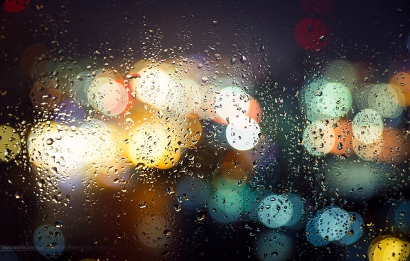 Picture wet, glass, drops, macro, night, the city, lights, bokeh