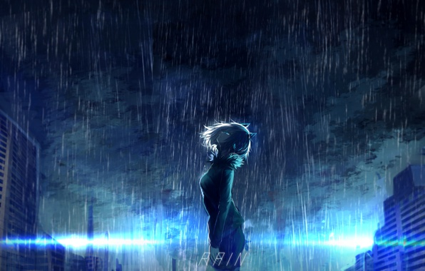 Picture the sky, girl, clouds, the city, rain, home, anime, headphones, art, ears, tarbo, exxxpiation