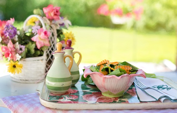 Picture summer, flowers, table, food, vase, bowl, plug, napkin, tray, salad, spices