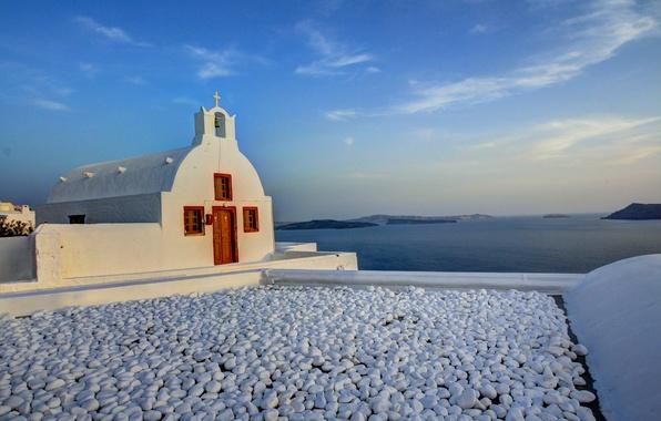 Picture sea, the sky, mountains, island, Santorini, Greece, Church