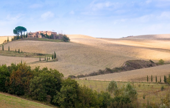 Picture road, autumn, the sky, trees, hills, home, Italy, panorama, Tuscany