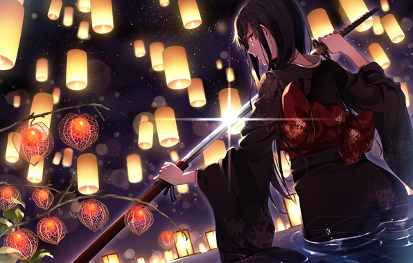 Picture girl, sword, lights, kimono, anime, art