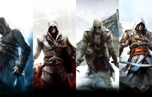 Picture Assassin's Creed, Altair, Ezio Auditore da Firenze, Connor Kenway, Edward Kenway