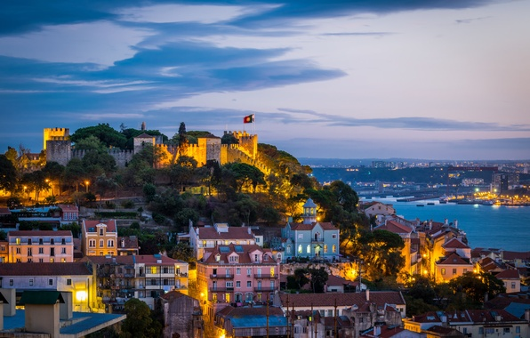 Picture the sky, clouds, the city, lights, castle, coast, the evening, lighting, fortress, Portugal, architecture, capital, …