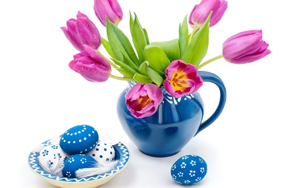 Picture drops, eggs, spring, Easter, tulips, blue, easter