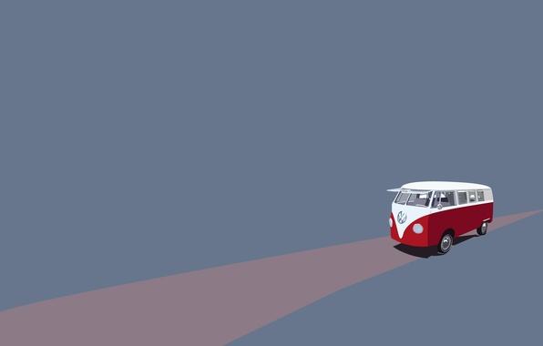 Photo wallpaper road, volkswagen, Volkswagen, minibus, avtobusik