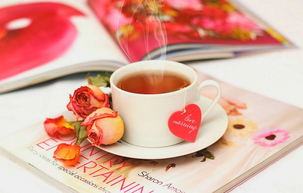 Picture love, flowers, tea, heart, roses, petals, Cup, love, rose, journal, heart, flowers, cup, drink, petals, …