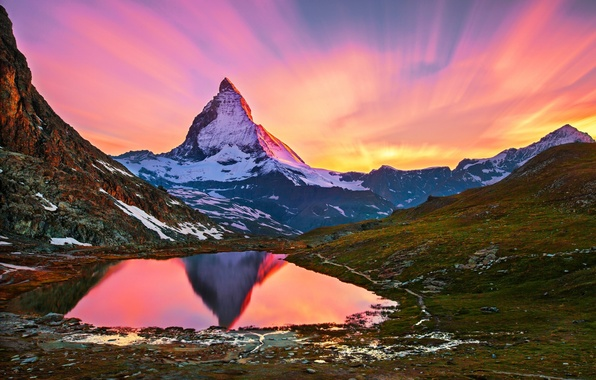 Picture snow, landscape, lake, dawn, mountain