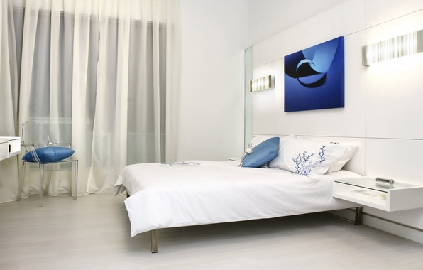 Picture white, blue, room, bed, interior, bedroom