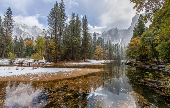 Picture autumn, forest, the sky, snow, trees, mountains, river