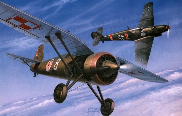 Picture the sky, figure, fighter, art, German, dogfight, fighter-monoplane, single-engine, WW2, Polish, PZL P.11, Messerschmitt Bf.109d-1