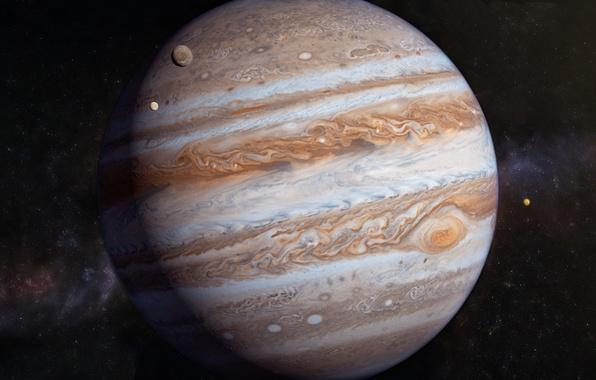 Picture stars, Jupiter, solar system, satellites, gas giant