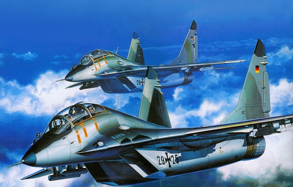 Picture aviation, fighter, art, the plane, Russian, MiG-29UB, THE AIR FORCES OF GERMANY