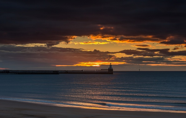 Picture beach, clouds, nature, the ocean, dawn, lighthouse, pierce