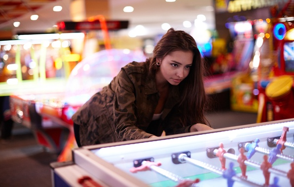 Picture girl, face, hair, the game, jacket, entertainment, Darina, table football