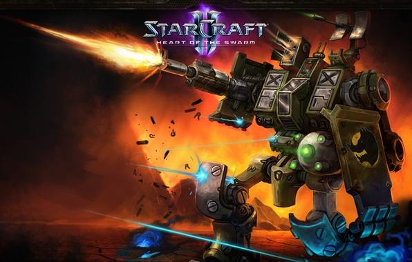 Wallpaper Fire, Gun, Robot, Starcraft 2, Heart, Heart Of